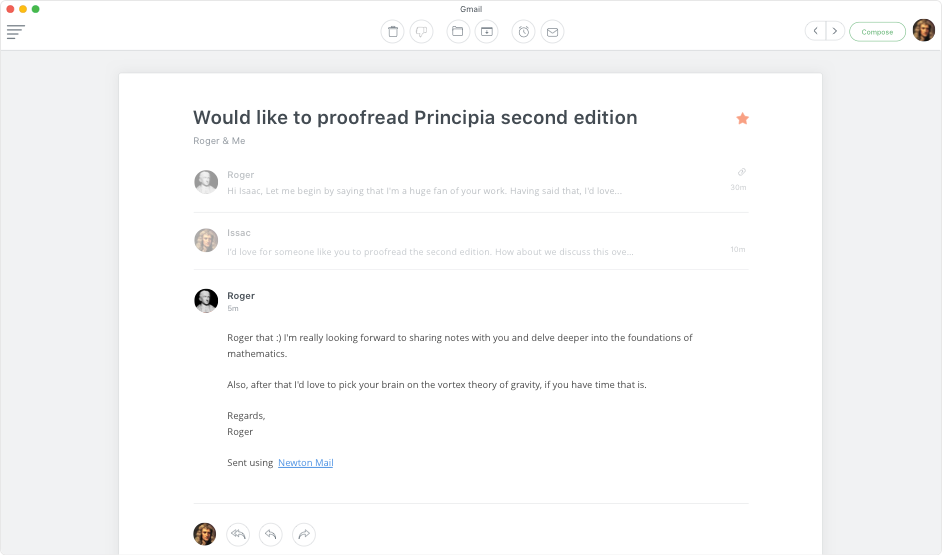 Clean Conversation View for an uninterrupted reading experience