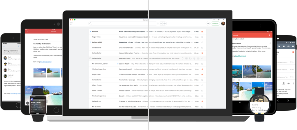 Newton Mail works well with GMail, Office 365, Microsoft Exchange, and all IMAP accounts. Also works with Yahoo Mail, Outlook.com and iCloud.